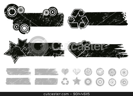 Grunge Banners  stock vector clipart, Each element separately for making your own composition. by Diego Alies
