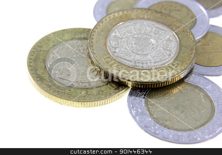 Pesos of Mexico stock photo, A close-up shot of a bunch of Mexican coins.  by Chris Hill