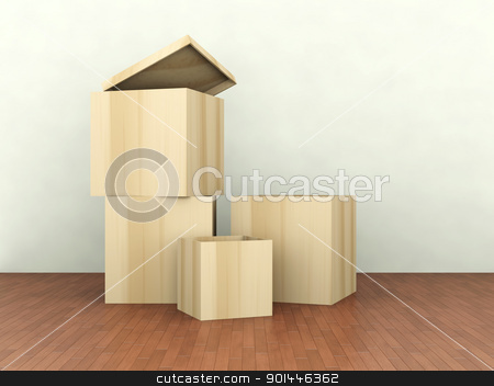 Wooden Boxes stock photo, 3D Illustration.   by Michael Osterrieder
