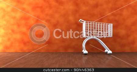 Home Shopping stock photo, 3D Illustration. A Shopping Cart in the Livingroom.  by Michael Osterrieder