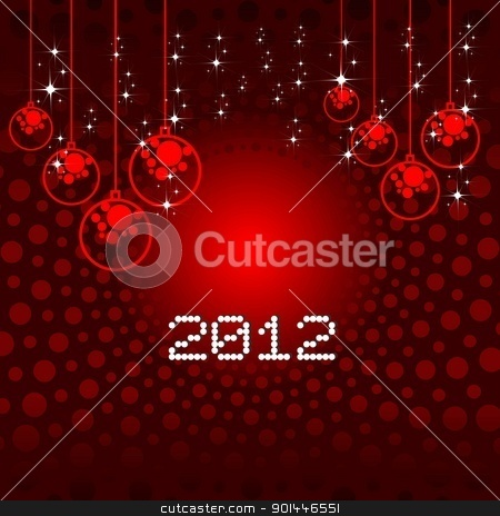 Bright color background Vector illustration for new year 2012. stock vector clipart, Bright color background Vector illustration for new year 2012 with star, circles, and red balls in dark red background. by Abdul Qaiyoom