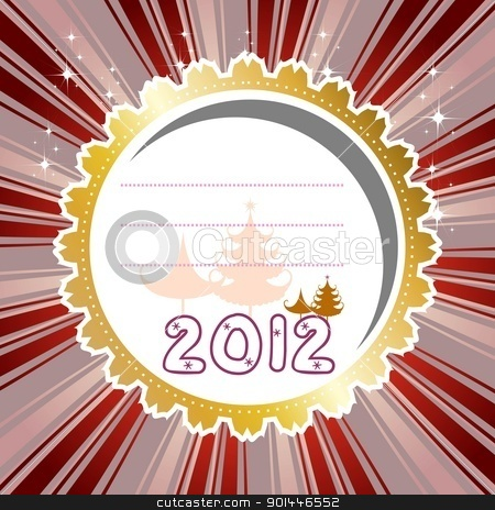 Abstract vector illustration for happy new year card 2012. stock vector clipart, Abstract vector illustration for happy new year card 2012 with golden circle, gold tree, pink and brown background. by Abdul Qaiyoom