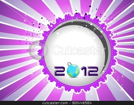 2012 Happy New Year greeting card with vector elements. stock vector clipart, 2012 Happy New Year greeting card with vector elements in purple background. by Abdul Qaiyoom