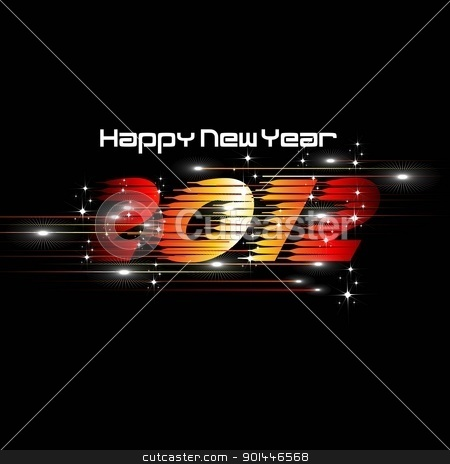 New Year 2012 Abstract illustration with lights and dark stars i stock vector clipart, New Year 2012 Abstract illustration with lights and dark stars & shine text in black background. by Abdul Qaiyoom