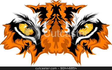 Tiger Eyes Mascot Graphic stock vector clipart, Graphic Team Mascot Image of  Tiger Eyes by chromaco