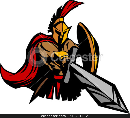 spartan trojan mascot vector with sword and shield stock vector