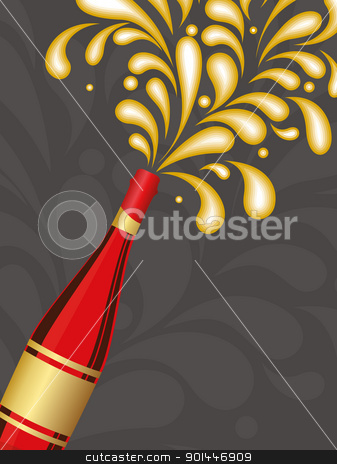 illustration for new year celebration stock vector clipart, creative artwork background with champagne explosion vector for celebration by Abdul Qaiyoom