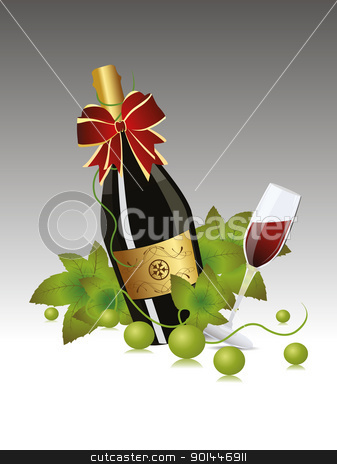 Champagne glasses fo New Year Celebration.  stock vector clipart, grapesvines background with champagne bottle and Glasses for 2012 celibration by Abdul Qaiyoom