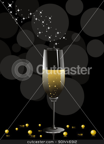 vector for new year 2012 celebration stock vector clipart, abstract black background with stars in wine glass, vector for celebration by Abdul Qaiyoom