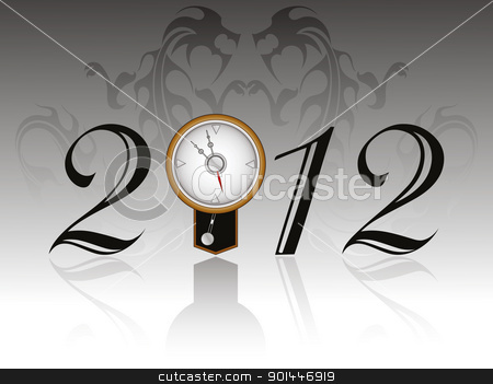 dragon background with artistis design 2012 stock vector clipart, seamless dragon background with artistis design 2012 text with wall clock by Abdul Qaiyoom