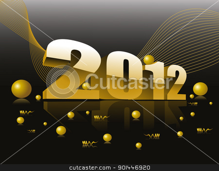 wave background with 3d effect 2012 with glossy balls stock vector clipart, abstract mustard wave background with 3d effect 2012 with glossy balls vector for new year celebration by Abdul Qaiyoom