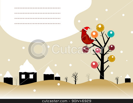 kiddish concept vector with space for text stock vector clipart, landscape background with bird sitting on artistic tree, house cover with snow  by Abdul Qaiyoom