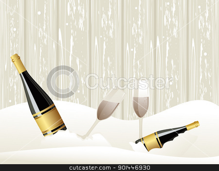 ice background with Champagne bottle, glasses stock vector clipart, abstarct ice background with Champagne bottle, glasses concept vector for events by Abdul Qaiyoom