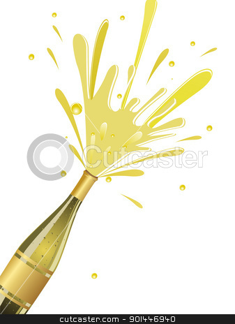 champange explosion for new year stock vector clipart, champange explosion on white background by Abdul Qaiyoom