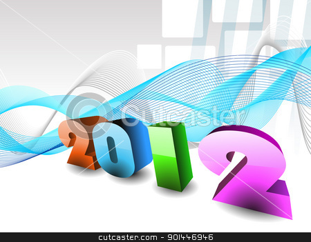 wave background vector for 2012 stock vector clipart, abstract design effect, wave background with 3d 2012 happy new year text by Abdul Qaiyoom