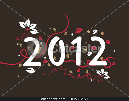 floral design 2012 text, vector for new year stock vector clipart, elegant floral design happy new year background with decorated 2012 text by Abdul Qaiyoom
