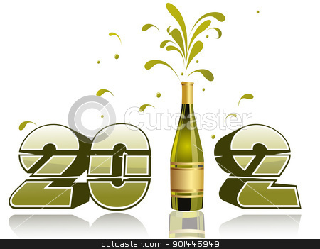 vector illustration with champange explosion stock vector clipart, vector champagne bottle explosion 2012 by Abdul Qaiyoom