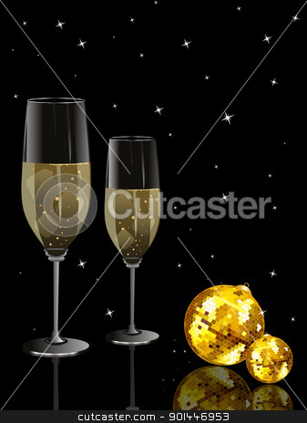 party night background with discoball, wine glass stock vector clipart, abstract black twinkle star background with set of champange glass, disco ball by Abdul Qaiyoom