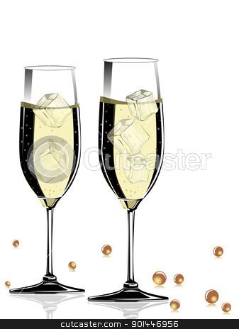 vector champange glass with shiny ball stock vector clipart, champange glass on white background by Abdul Qaiyoom