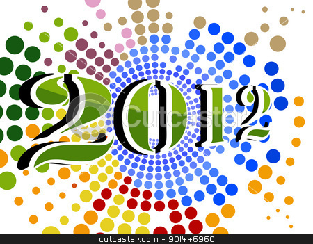 vector colorful dotted background with 2012 stock vector clipart, abstract colorful dotted effect concept background for happy new year 2012 by Abdul Qaiyoom