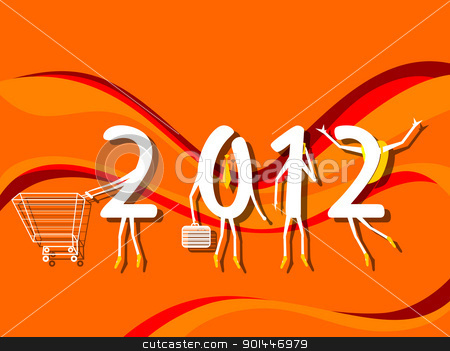 vector for new year celebration stock vector clipart, abstract orange stripes background with artistic 2012 by Abdul Qaiyoom
