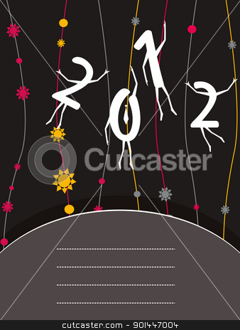 happy new year greeting card stock vector clipart, abstarct bloom stripes background with hanging 2012 artistic concept text by Abdul Qaiyoom