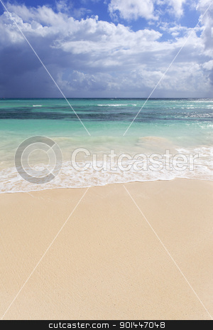 mexican beach stock photo, sand of beach on caribbean sea in Mexico by vwalakte