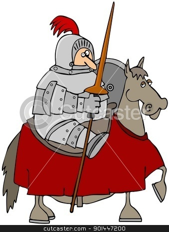 Jousting Knight stock photo, This illustration depicts a knight in armor atop a horse and holding a jousting pole and shield. by Dennis Cox