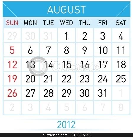 August Calendar stock photo, August Calendar. Illustration on white background for design by dvarg