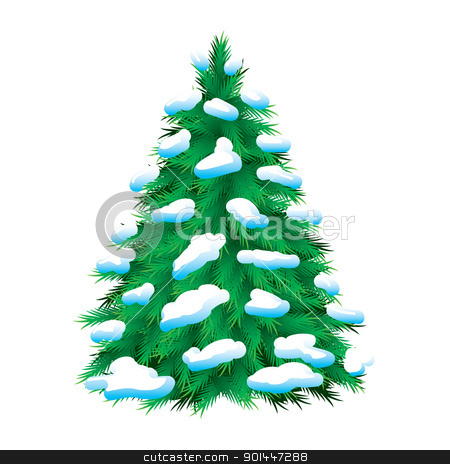 Green fur-tree covered with snow stock photo, Green fur-tree covered with snow, isolated. Christmas picture  by dvarg