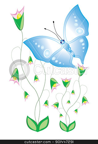 Cartoon butterflies with flowers stock photo, Funny cartoon tropical butterfly with flowers. Beautiful vector illustration by dvarg