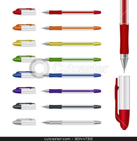 Ballpoint pens stock photo, Ballpoint pens on a white background. Vector illustration #4 by dvarg