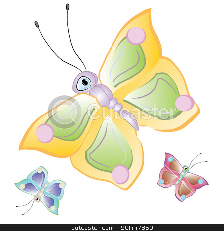 Cartoon butterflies stock photo, Funny cartoon tropical butterfly. Beautiful vector illustration by dvarg