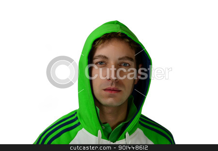 Attractive guy with green hoodie stock photo, Good looking young man in green sweatshirt and hoodie by Stefano Cavoretto