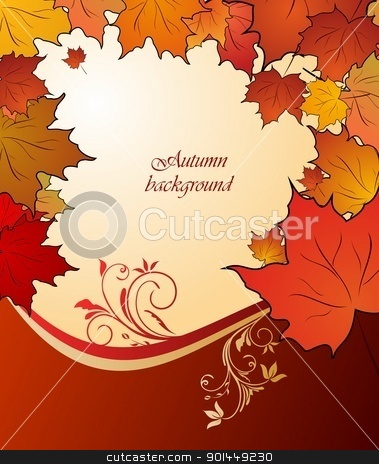 autumn floral background stock vector clipart, Illustration of autumn floral background. Vector by -=Mad Dog=-