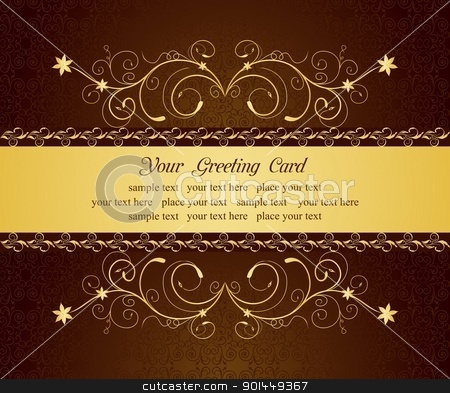 gold floral greeting cards and invitation  stock vector clipart, Illustration gold floral greeting cards and invitation - vector by -=Mad Dog=-