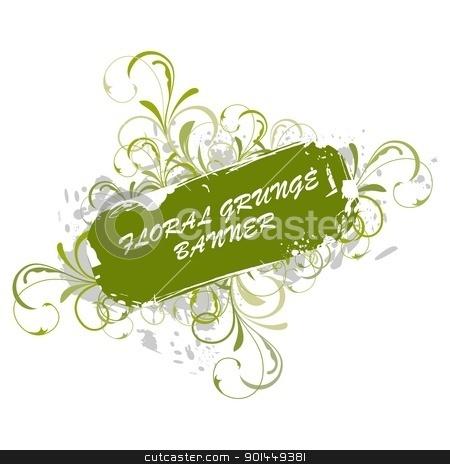 Grunge banner stock vector clipart, Illustration of floral grunge banner. Vector by -=Mad Dog=-