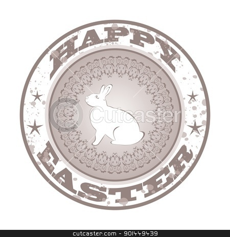 Easter grunge stamp with bunny stock vector clipart, Illustration Easter grunge stamp with bunny - vector by -=Mad Dog=-