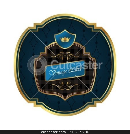 golden frame label with crown isolated stock vector clipart, Illustration golden frame label with crown isolated - vector by -=Mad Dog=-