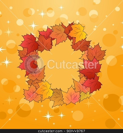 of autumn frame made in maples stock vector clipart, Illustration of autumn frame made in maples - vector by -=Mad Dog=-