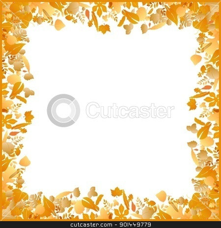autumn frame made of various leaves stock vector clipart, Illustration autumn frame made of various leaves - vector by -=Mad Dog=-