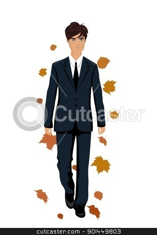 elegant autumn man isolated stock vector clipart, Illustration elegant autumn man isolated - vector by -=Mad Dog=-