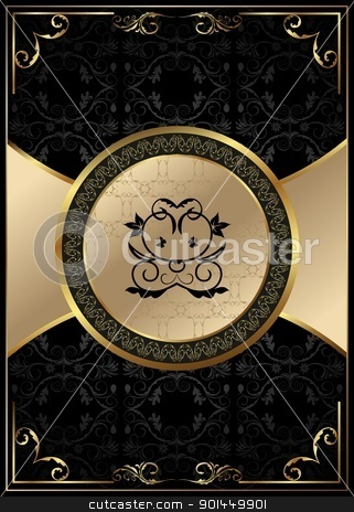 ornate background with golden luxury framed label stock vector clipart, Illustration ornate background with golden luxury framed label - vector by -=Mad Dog=-