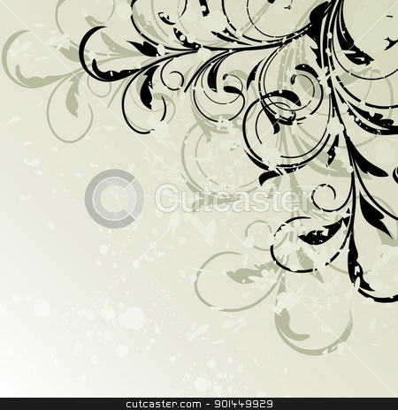 Grunge floral background stock vector clipart, Illustration grunge floral background card for design - vector by -=Mad Dog=-