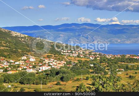Baska bay mountain and sea landscape stock photo, Baska bay mountain and sea landscape, Island of Krk, Croatia by xbrchx