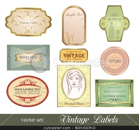 set retro variation vintage labels stock vector clipart, Illustration set retro variation vintage labels - vector by -=Mad Dog=-