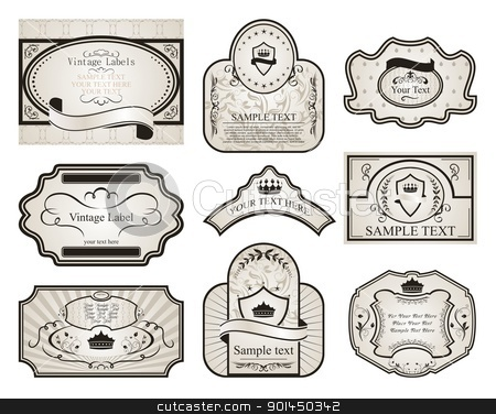 set retro variation vintage labels (2) stock vector clipart, Illustration set retro variation vintage labels (2) - vector by -=Mad Dog=-