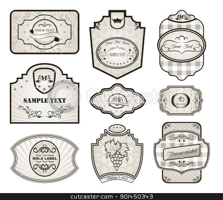 set retro variation vintage labels stock vector clipart, Illustration set retro variation vintage labels (4) - vector by -=Mad Dog=-