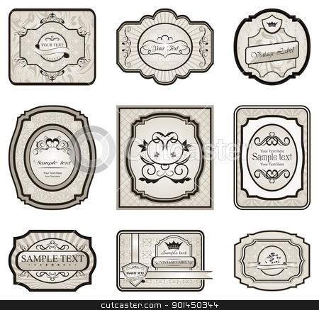 set retro variation vintage labels (5) stock vector clipart, Illustration set retro variation vintage labels (5) - vector by -=Mad Dog=-