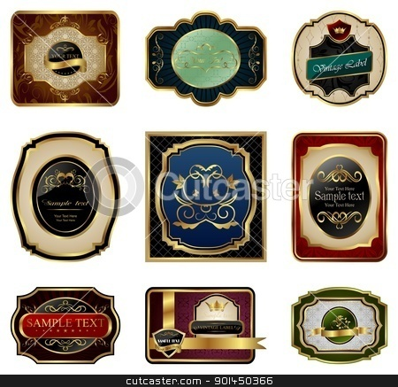 set of decorative color gold frames labels stock vector clipart, Illustration set of decorative color gold frames labels - vector by -=Mad Dog=-